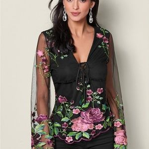 Beautiful Embroidered Mesh Blouse